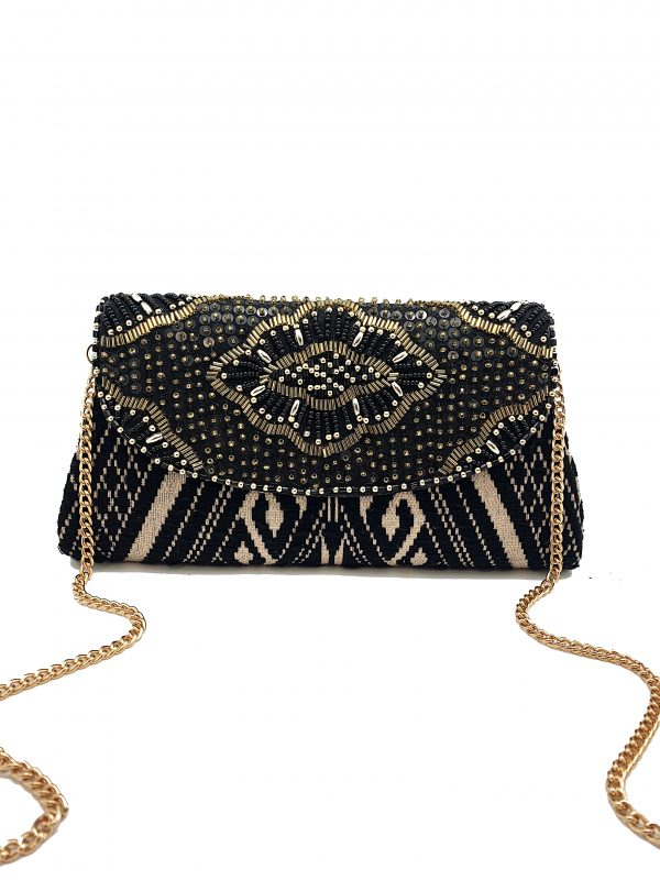 JACQUARD PRINT CLUTCH WITH METALLIC BEADING