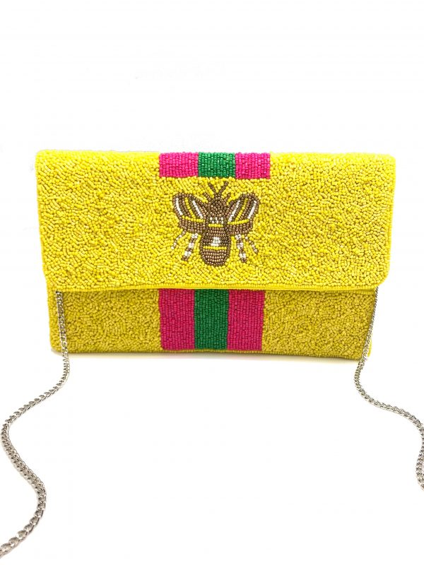 YELLOW BEADED CLUTCH WITH METALLIC BEE AND PINK AND GREEN STRIPES
