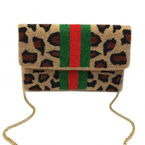 LEOPARD PRINT CLUTCH WITH RED/GREEN STRIPES