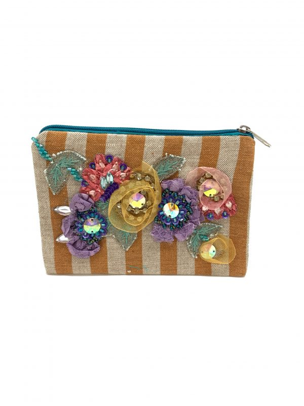 STRIPED COIN PURSE WITH RIBBON APPLIQUE AND BEADWORK
