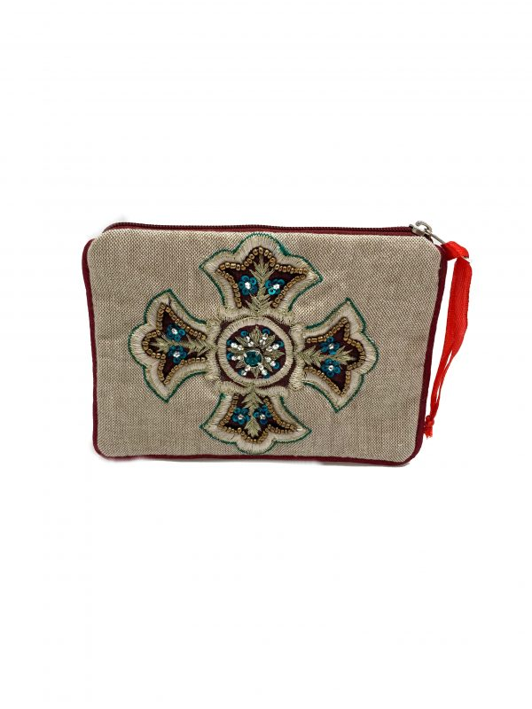 EMBROIDERED CROSS POUCH