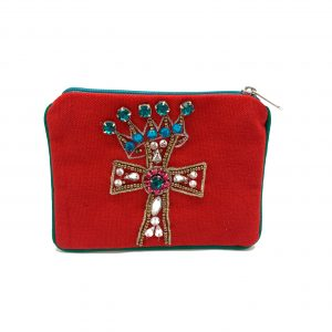 RED JEWELED CROSS MINI POUCH
