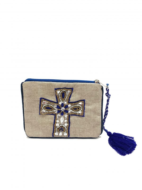 PURPLE AND SILVER COLOR JEWELED CROSS
