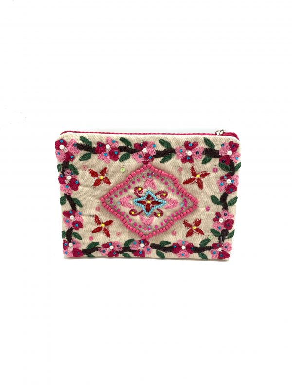 COIN PURSE WITH PINK FLORAL EMBROIDERY AND SEQUINS