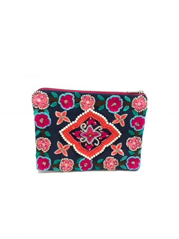 NAVY COIN PURSE WITH FLORAL EMBROIDERY, SEQUINS, AND PEARLS