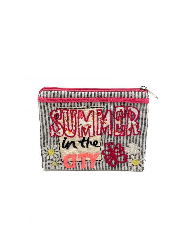 """SUMMER IN THE CITY"" EMBROIDERED POUCH"
