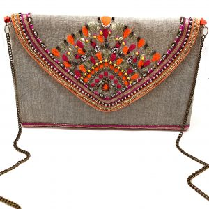 ENVELOPE CLUTCH WITH CORAL AND FUCHSIA EMBROIDERY AND METALLIC BEADING