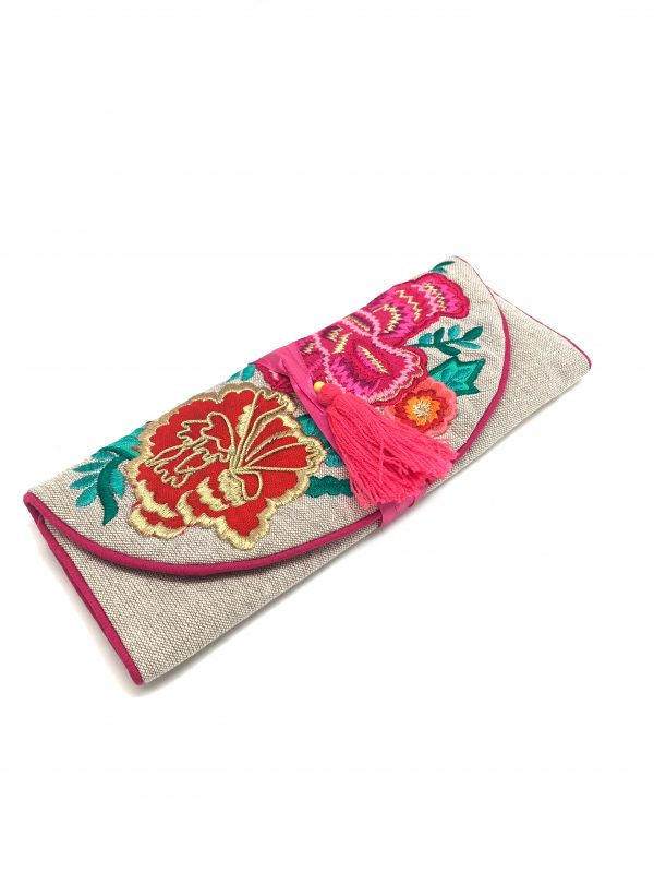 FLORAL EMBROIDERED JEWELRY ROLL