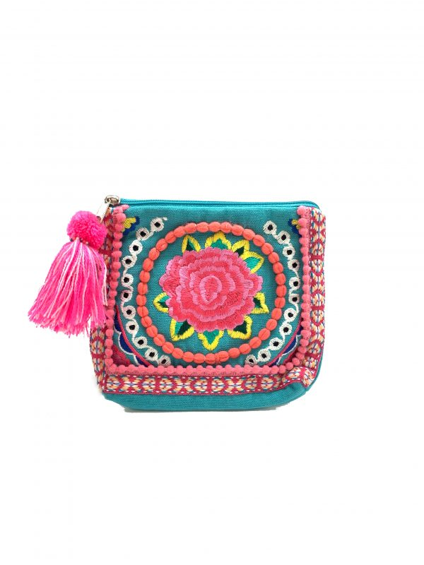 BLUE COIN PURSE WITH TASSEL ZIPPER AND MULTI-COLORED EMBROIDERY