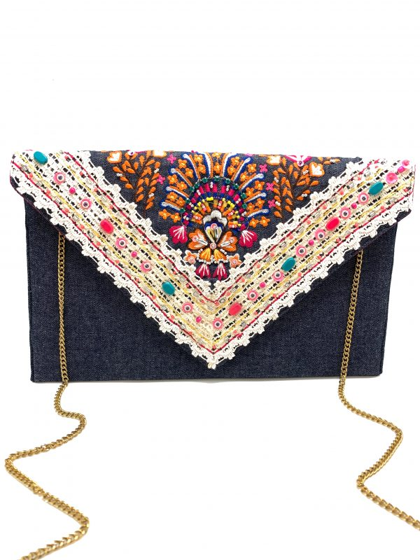 MULTI-COLORED EMBROIDERED DENIM CLUTCH