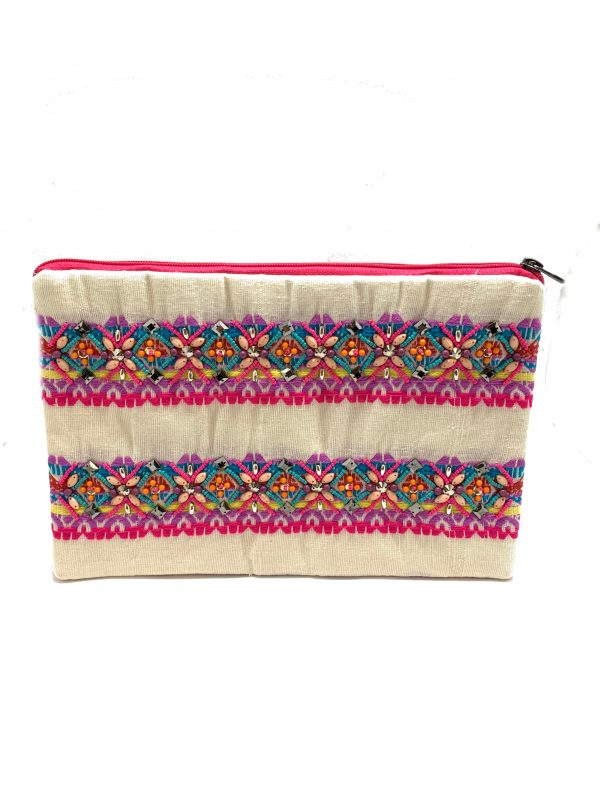 ZIPPER TOP CLUTCH WITH MULTI-COLORED EMBROIDERY AND BEADING