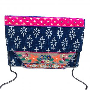 MULTI-COLORED BATIK PRINT EMBROIDERED CLUTCH