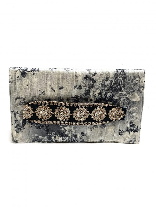 BLACK AND GREY SILK FLORAL HANDHELD CLUTCH WITH EMBROIDERED GOLD STRAP