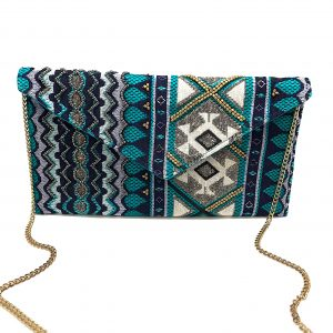 JACQUARD ENVELOPE CLUTCH WITH METALLIC BEADING