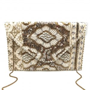 CREAM GOLD BEADED SEQUINS CLUTCH