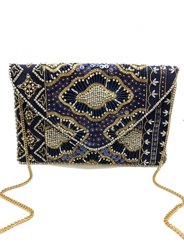 MIDNIGHT NAVY BEADED CLUTCH