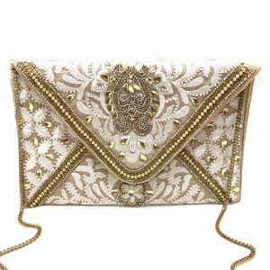 EMBROIDERED CLUTCH WITH GOLD BEADING AND EMBELLISHMENT