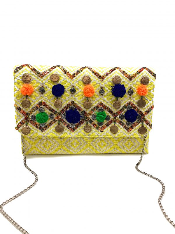 YELLOW JACQUARD CLUTCH WITH MULTI COLOR SEQUINS, POMPOMS, AND COINS