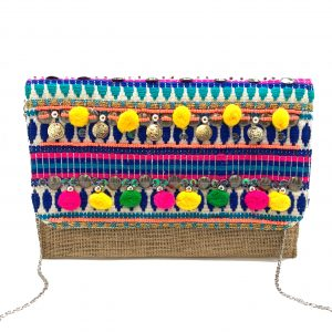 BURLAP CLUTCH WITH MULTI-COLORED POMPOMS