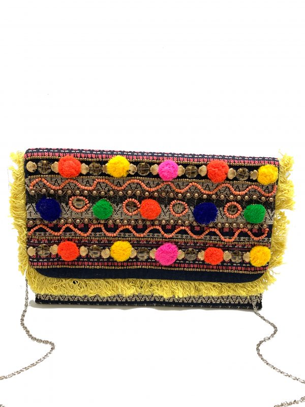 MULTI COLOR POM POM CLUTCH