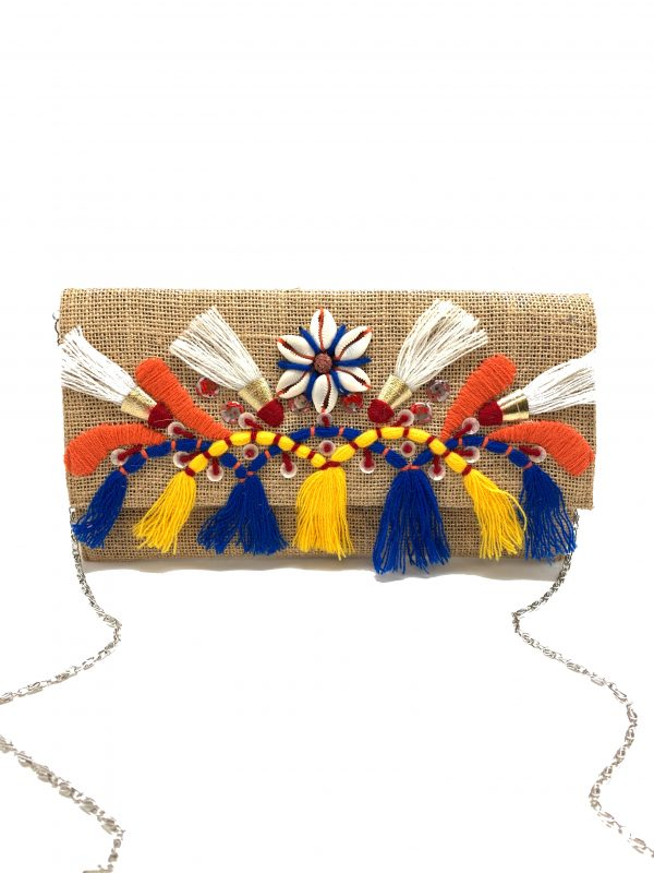 EMBROIDERED BURLAP CLUTCH WITH COWRIE SHELLS AND TASSELS
