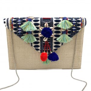 EMBROIDERED BURLAP CLUTCH WITH COWRIE SHELLS