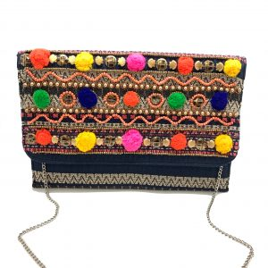 JACQUARD FABRIC CLUTCH WITH MULTI-COLORED POMPOMS