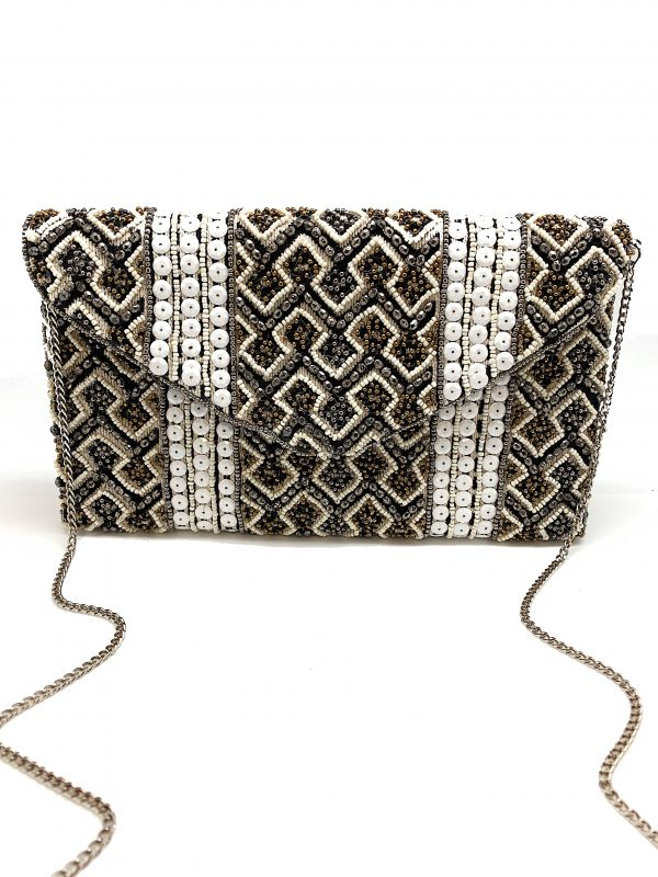 BLACK AND WHITE FULLY BEADED BAG
