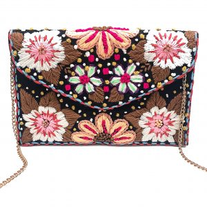 BLACK ENVELOPE CLUTCH WITH FLORAL WOOLEN EMBROIDERY