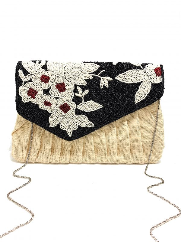BURLAP CLUTCH WITH BLACK, WHITE, AND RED BEADING