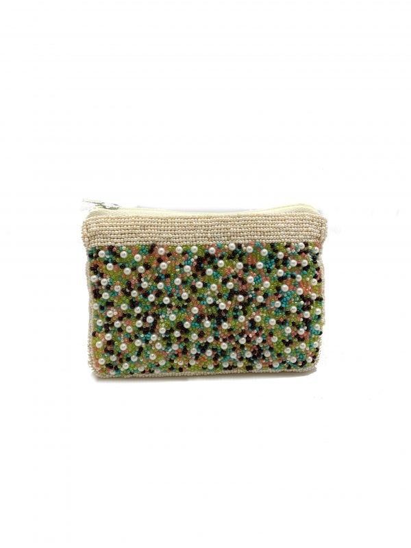 FULLY BEADED COIN PURSE IN PEARLS