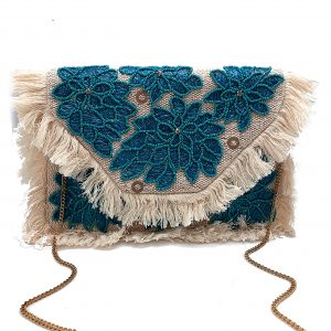 WOVEN ENVELOPE CLUTCH WITH FRINGE, RAFFIA EMBROIDERY, AND TURQUOISE BEADING