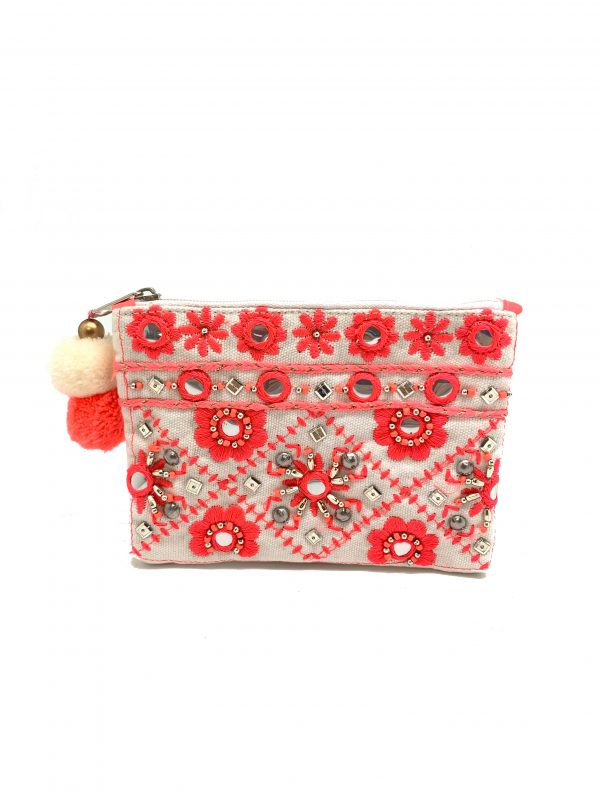 WHITE AND PINK MIRROR WORK COIN PURSE