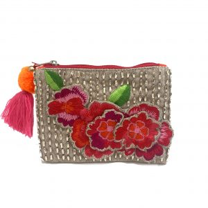 METALLIC BEADING AND FLORAL APPLIQUE COIN PURSE
