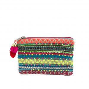 TURQUOISE COIN PURSE WITH COLORFUL NEON BEADING AND EMBROIDERY