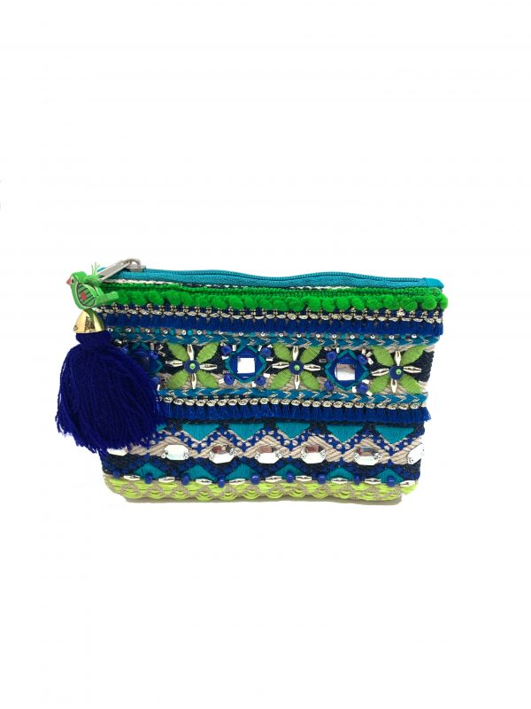 COIN PURSE WITH GREEN AND BLUE EMBROIDERY AND MIRRORED BEADING.