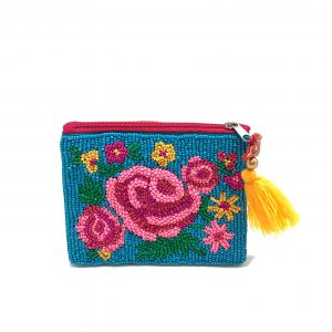 BLUE ZIPPER TOP POUCH WITH TONAL PINK FLORAL BEADING