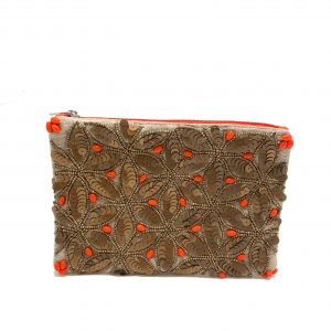 POUCH WITH GOLD AND CORAL SEQUINS AND BEADS