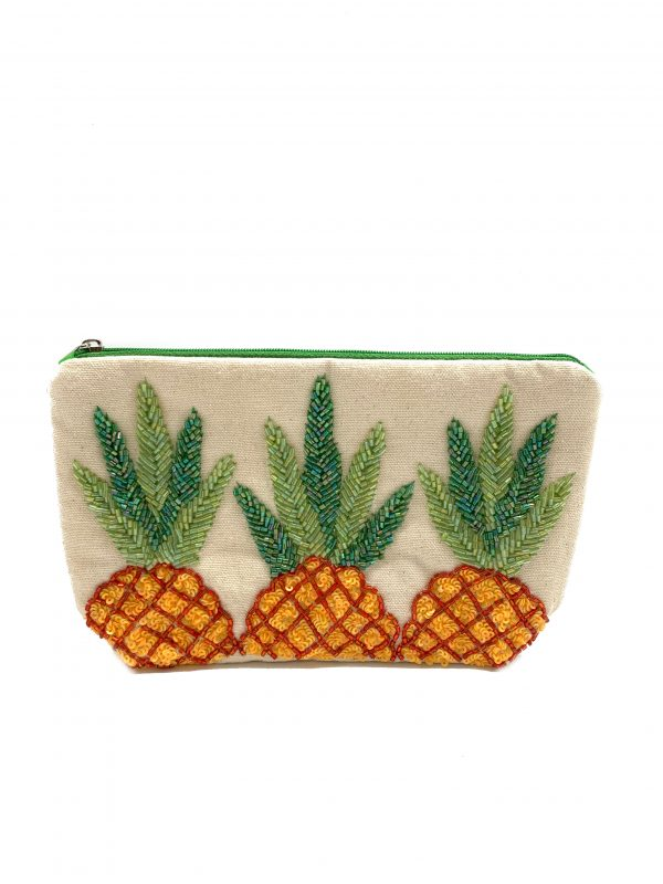 PINEAPPLE EMBROIDERED POUCH/ MAKE UP BAG