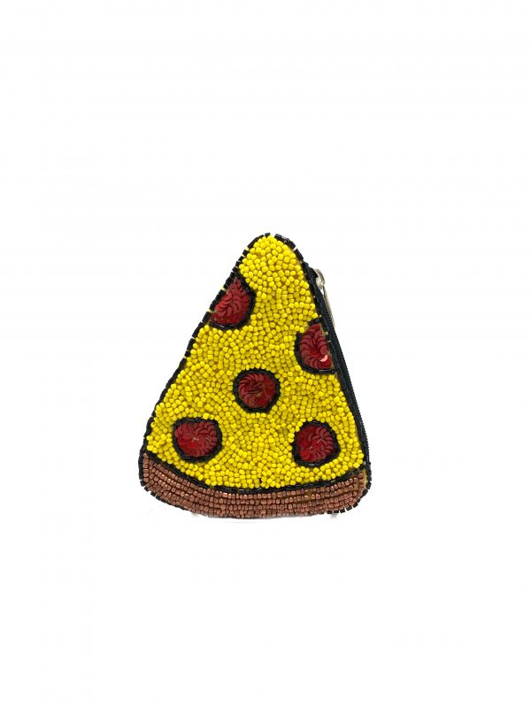 PIZZA SHAPED COIN PURSE WITH YELLOW BEADING AND RED SEQUINS