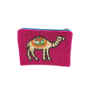 FUCHSIA BEADED COIN PURSE WITH EMBROIDERED GOLD CAMEL