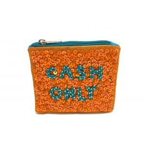 """CASH ONLY"" ZIPPER TOP COIN PURSE WITH ORANGE SEQUINS AND BLUE BEADING"