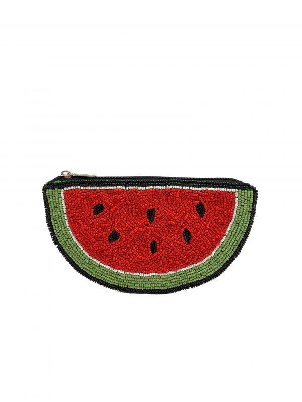 WATERMELON SHAPED ZIPPER TOP POUCH WITH RED AND GREEN BEADING