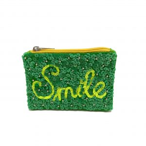 """SMILE"" COIN PURSE WITH LIME GREEN AND NEON SEQUINS AND STUDS."
