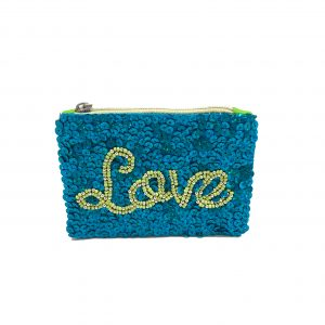 """LOVE"" POUCH WITH BLUE SEQUINS AND GREEN BEADING"