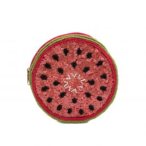 WATERMELON SHAPED COIN PURSE WITH PINK AND LIGHT GREEN BEADING AND SEQUINS