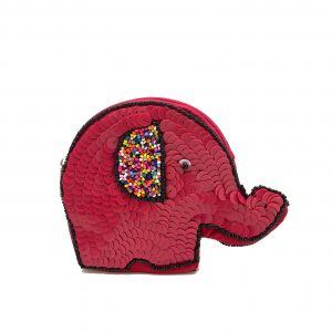 ELEPHANT SHAPED POUCH WITH FUCHSIA SEQUINS AND MULTI COLORED BEADING ON FRONT AND BACK