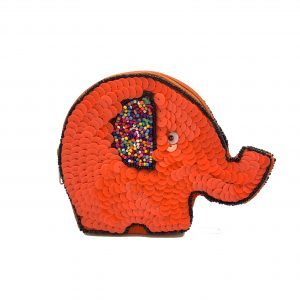 ELEPHANT SHAPED POUCH WITH ORANGE SEQUINS AND MULTI COLORED BEADING ON FRONT AND BACK