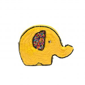 ELEPHANT SHAPED POUCH WITH YELLOW SEQUINS AND MULTI COLORED BEADING ON FRONT AND BACK