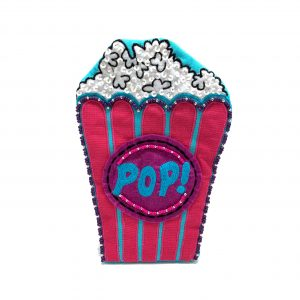 PURPLE AND PINK POPCORN BUCKET-SHAPED POUCH WITH BEADING AND EMBROIDERY